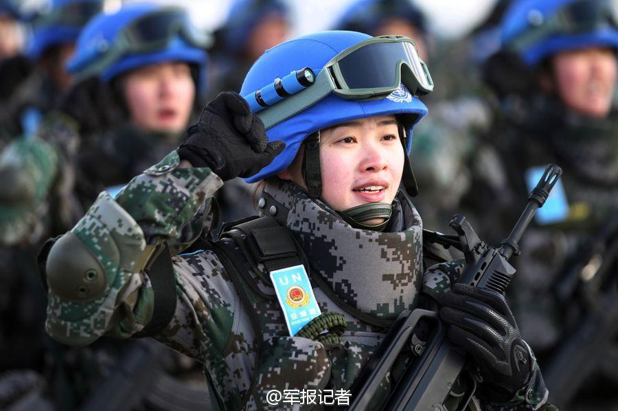 Female soldiers among China's first peacekeeping infantry battalion
