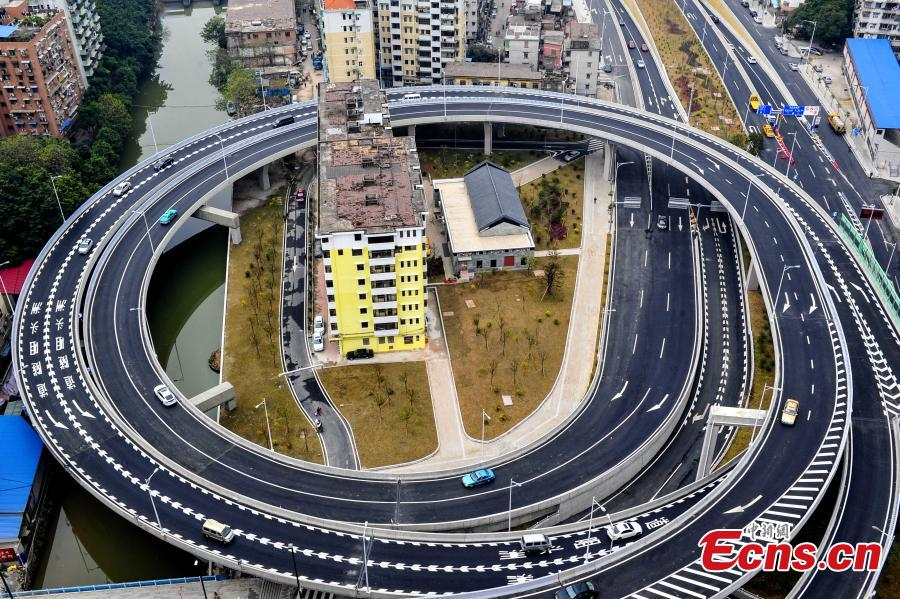 Building surrounded by highways in Guangzhou
