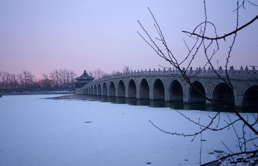 Summer Palace dresses in white after light snowfall