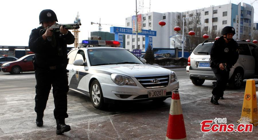 Anti-terrorism drill held in Xinjiang city before festival