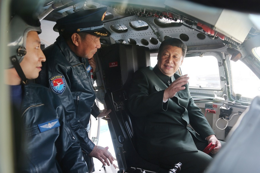 Chinese President Xi Jinping boards H-6 bomber