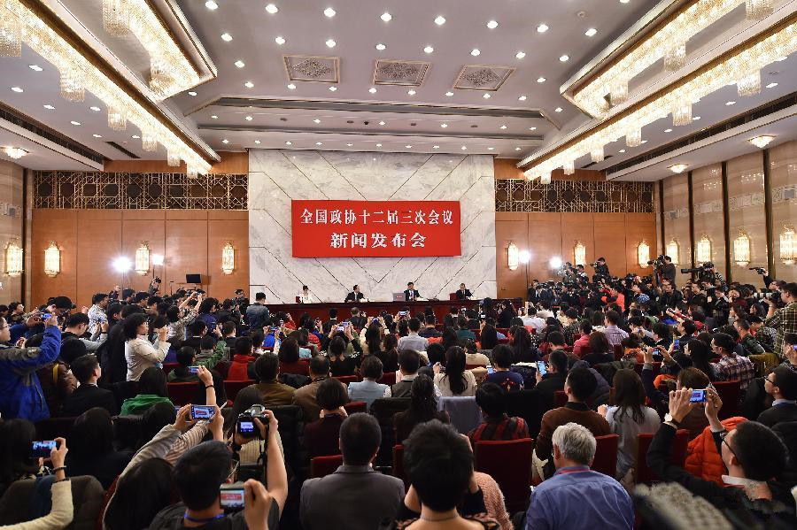 Press conference on 3rd session of 12th CPPCC National Committee held
