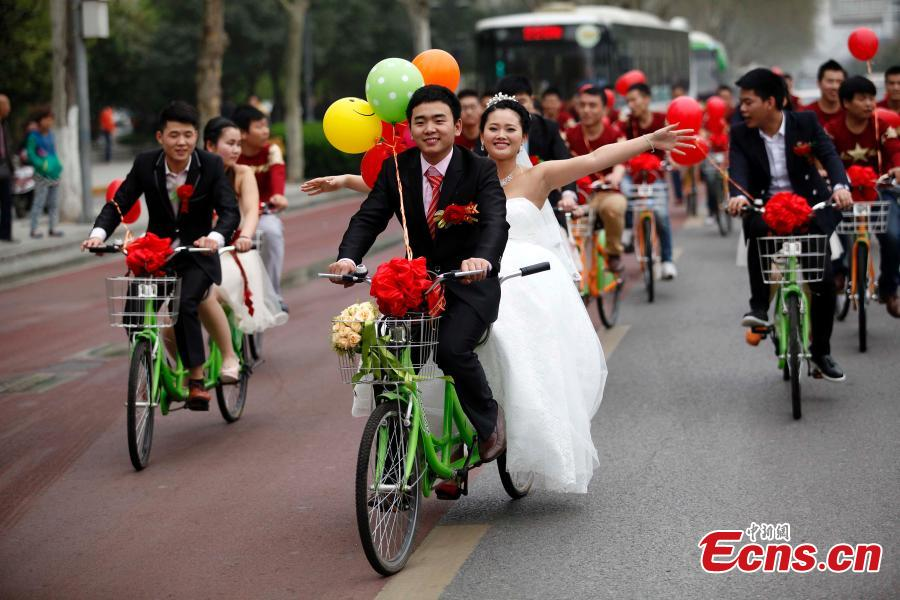 Couple mark the big day with cycling