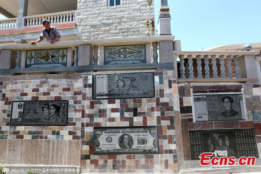 Villager decorates wall with banknote images