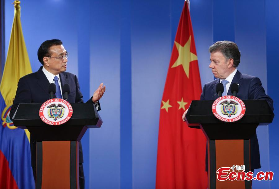 Chinese premier, Colombian president attend joint press conference