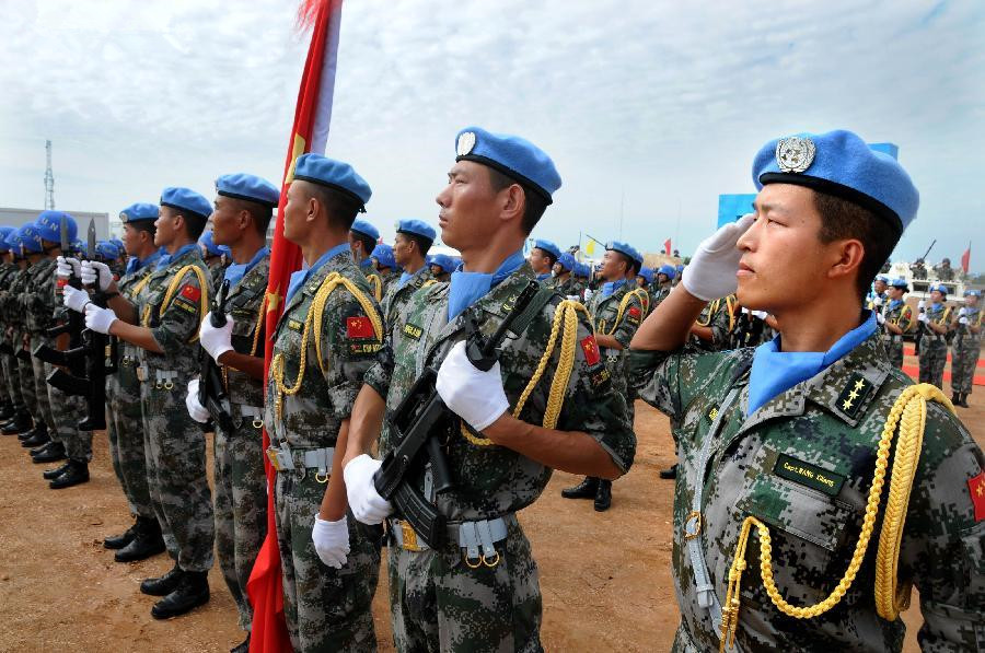 UN representatives inspect China's peacekeeping infantry battalion in S Sudan