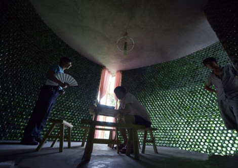 Beer bottles are building material for one young architect