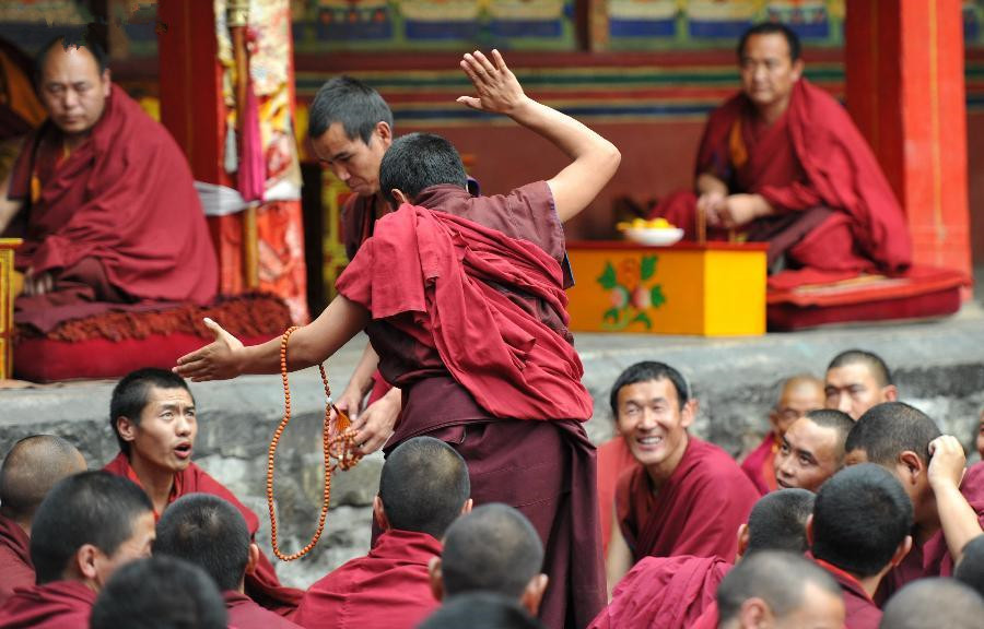 Sutra debate held at Tashilhunpo Monastery in Tibetan Xigaze