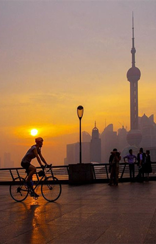 Shanghai in rosy dawn after the rain