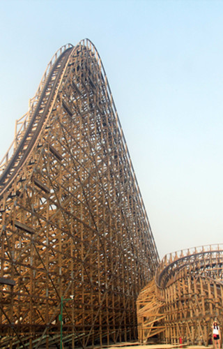 Wooden roller coaster debuts in E China
