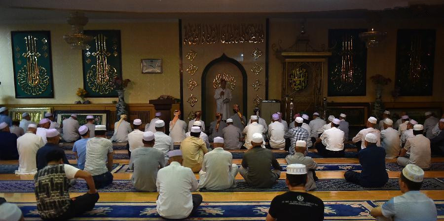 Muslims pray during holy fasting month of Ramadan in Ningxia