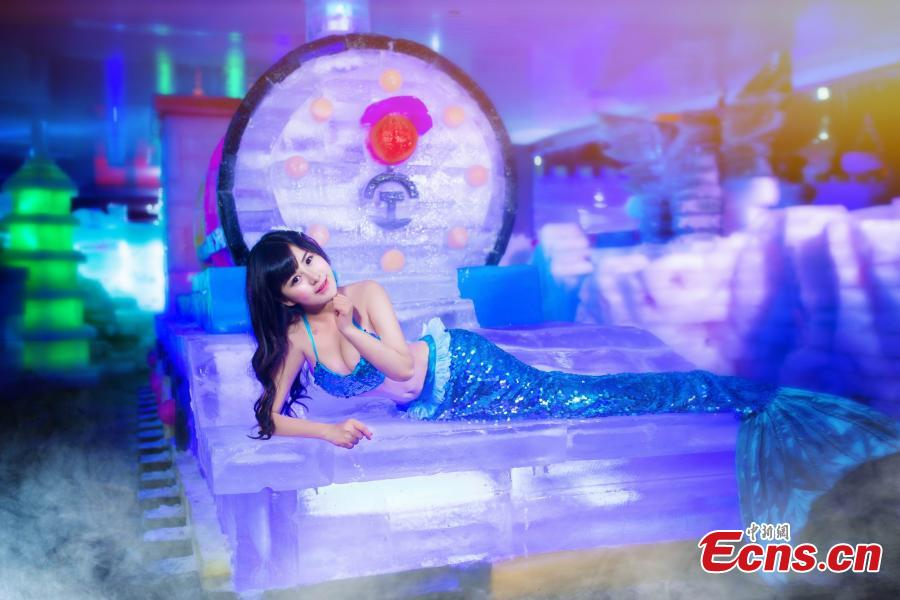 'Ice mermaid' promotes festival in E China city