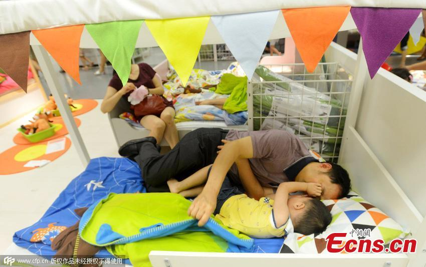 Customers escape heat by sleeping in furniture store