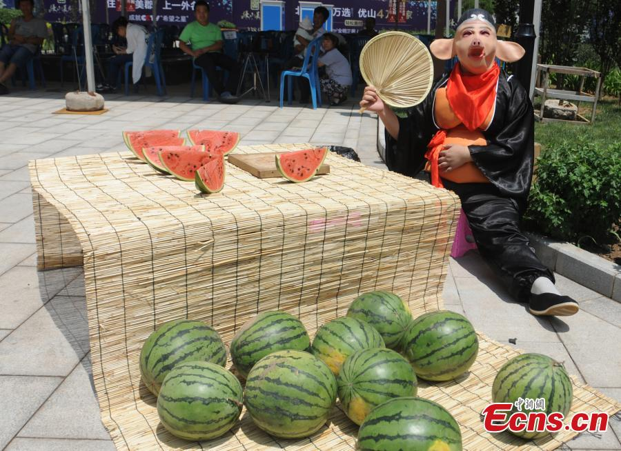 Funny 'pig' outfit helps watermelon vendor boost sales