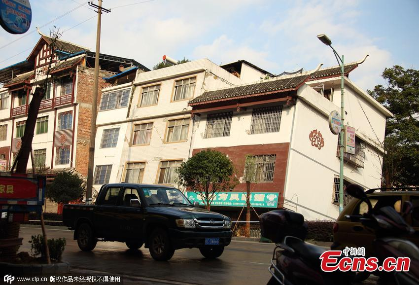 No casualties after buildings tilt in SW China