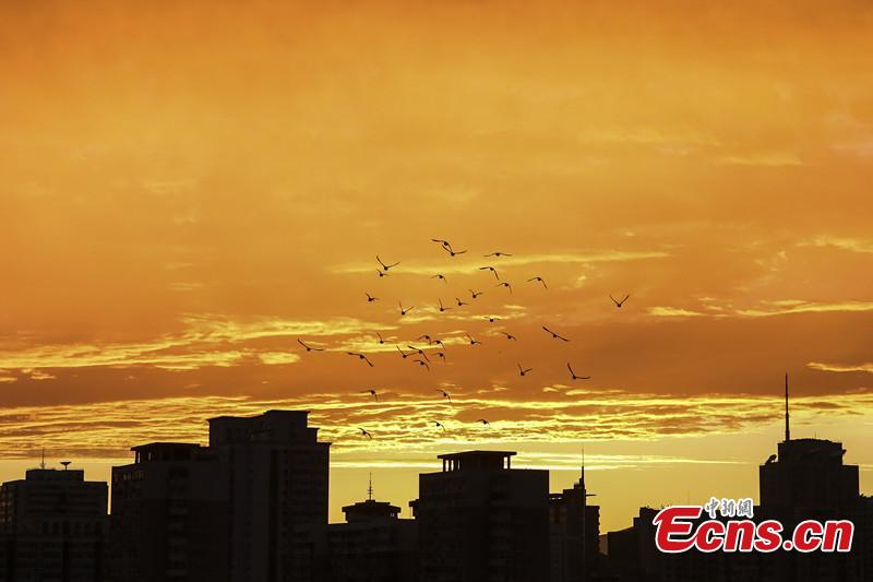 Colorful sunset clouds appear in Beijing
