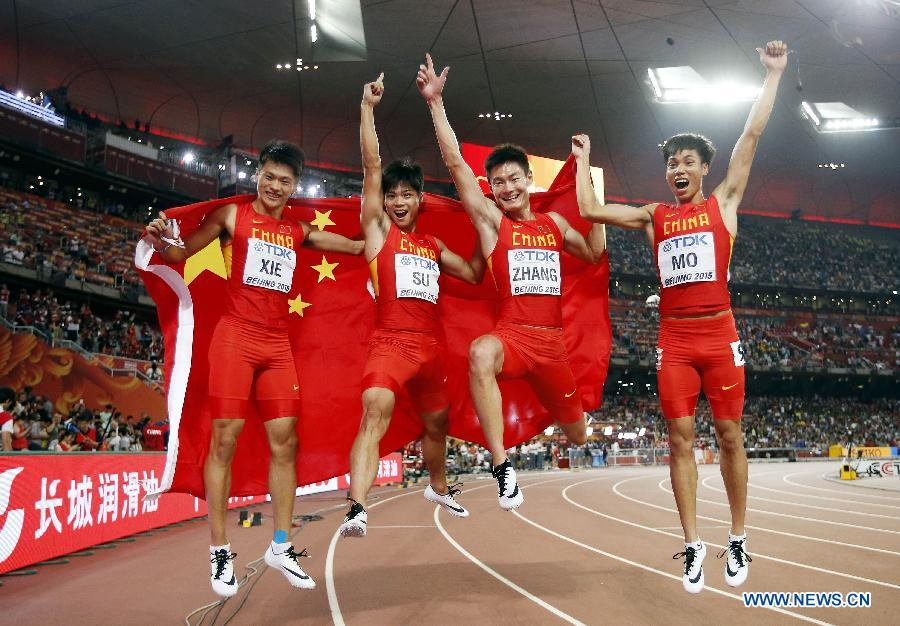 China picks silver of men's 4x100m relay at athletics worlds