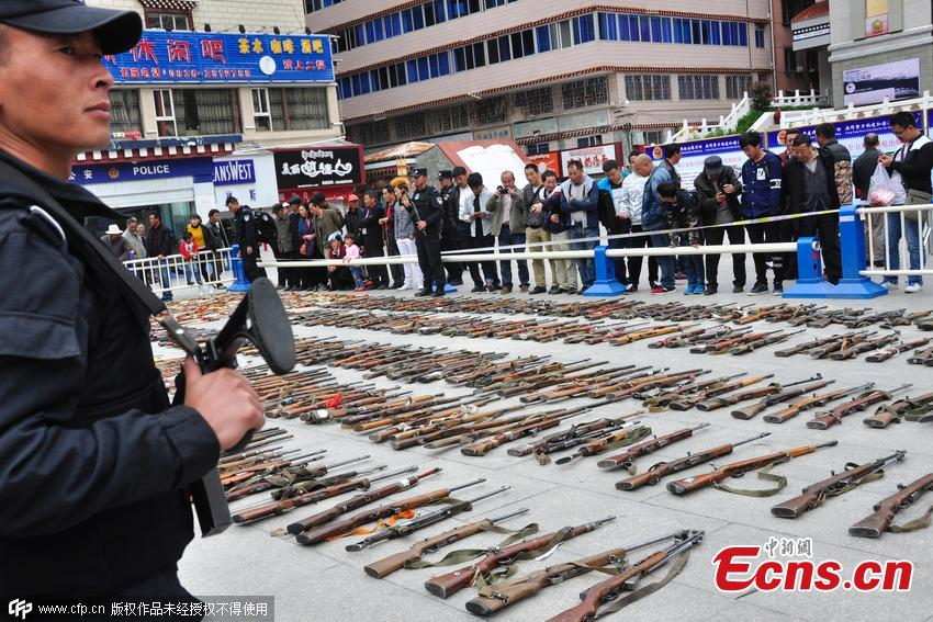 Crackdown on illegal weapons slashes crime in SW China