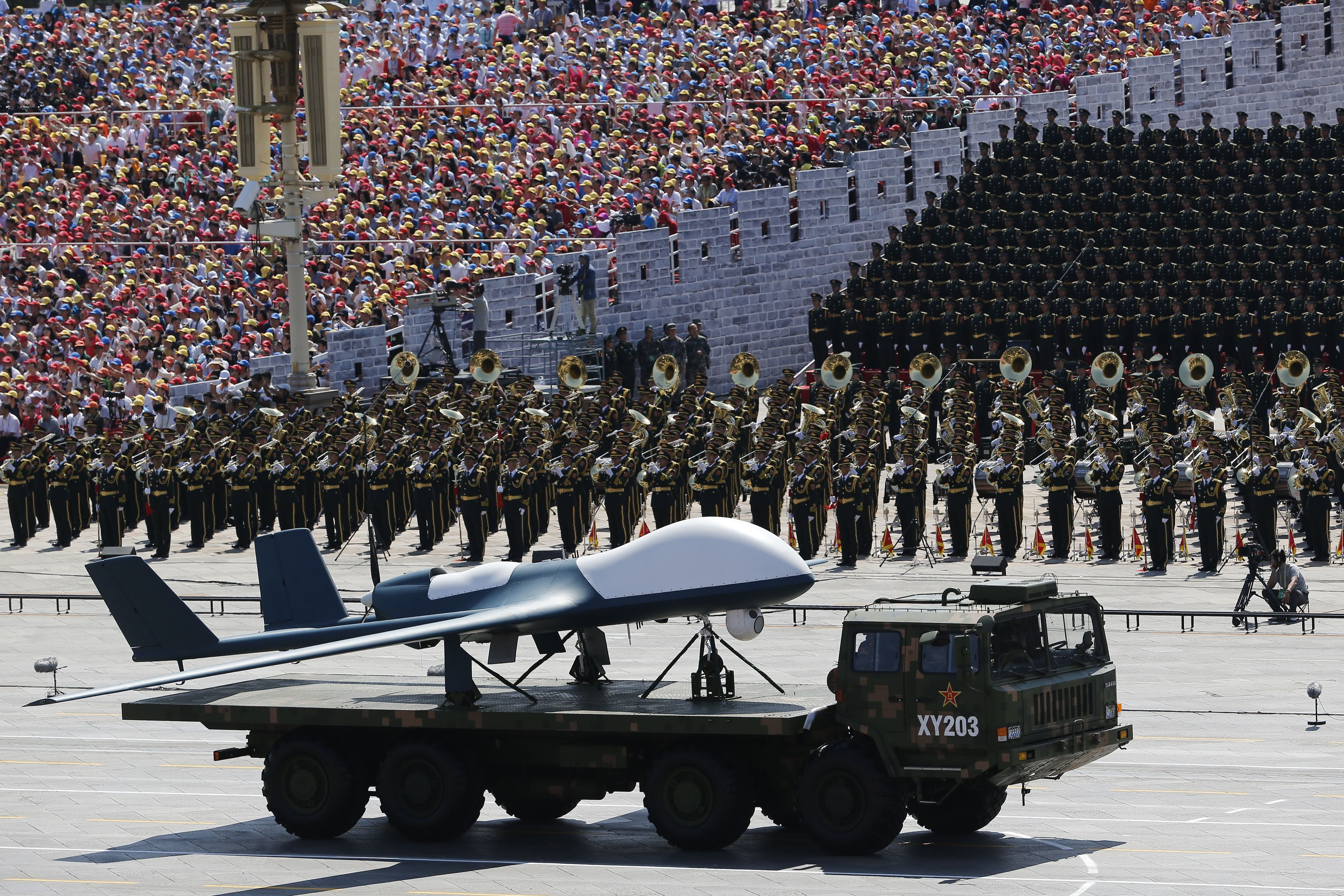 Unmanned aerial vehicles displayed in V-Day parade