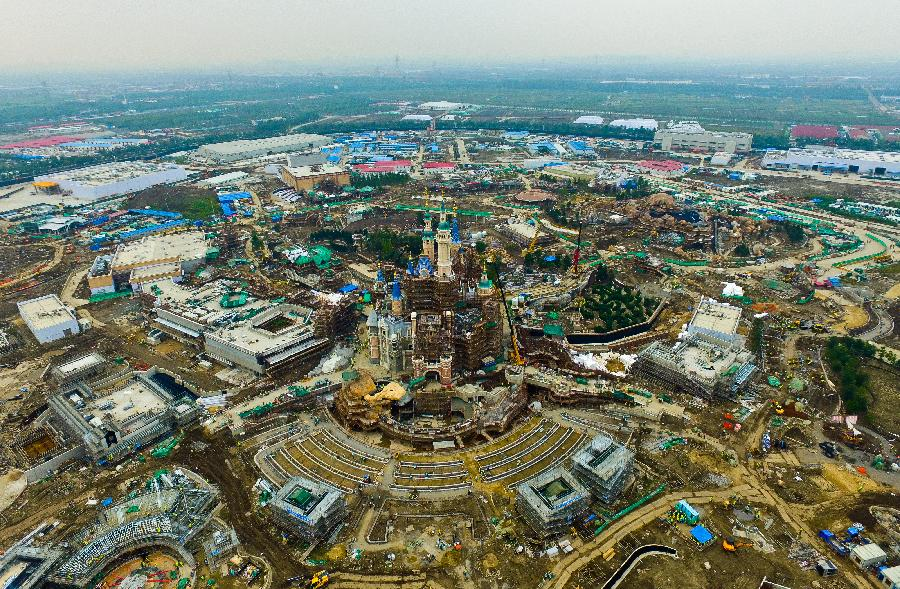 Aerial view of under-construction Shanghai Disneyland Resort