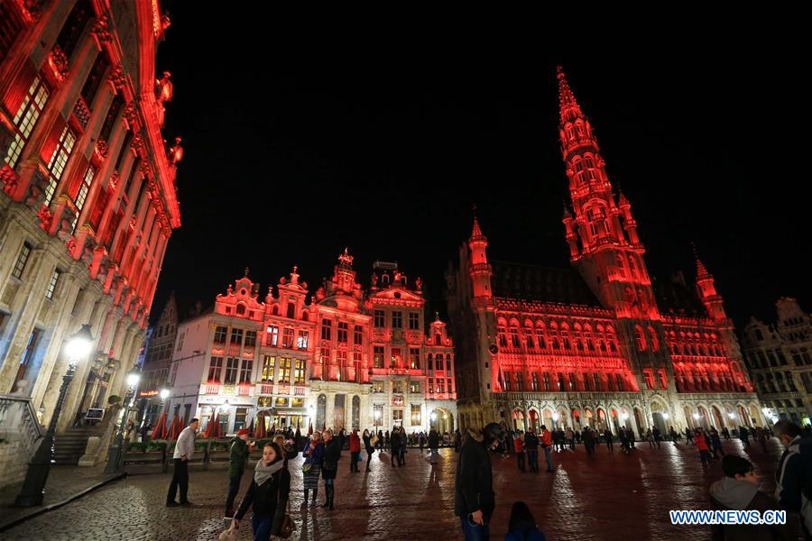 Central plaza in Brussels lit up in red to celebrate Chinese New Year