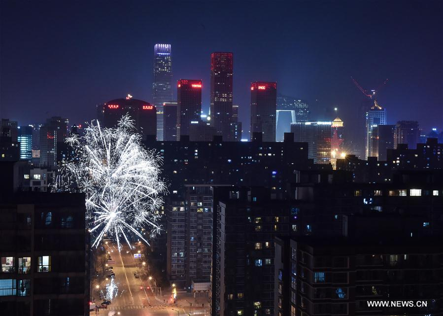 Fireworks in Beijing at Lunar New Year's eve