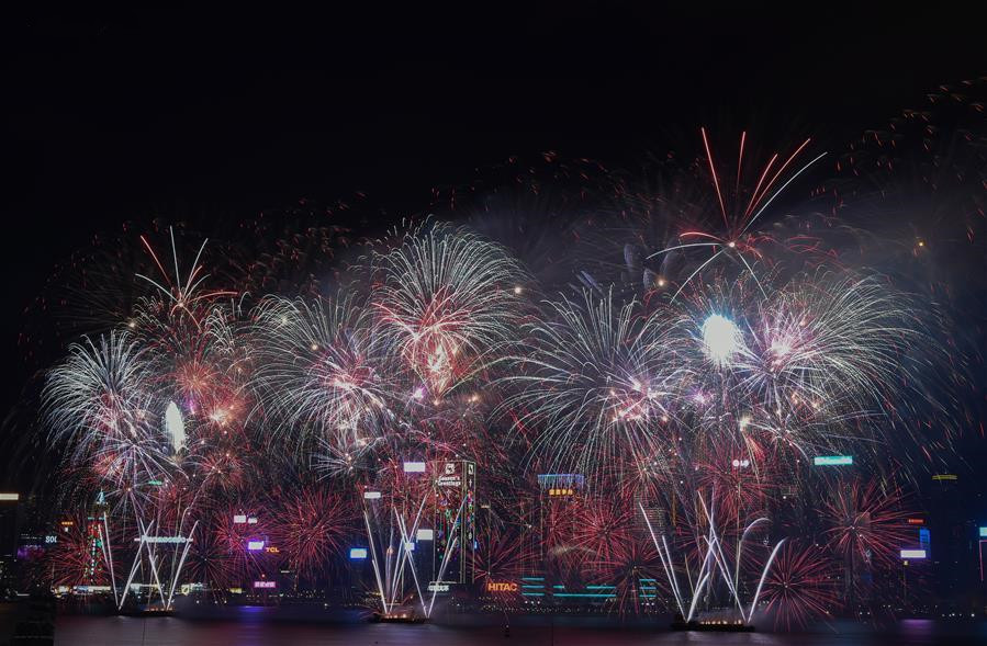 Spring Festival celebrated with fireworks over Victoria Harbour in Hong Kong