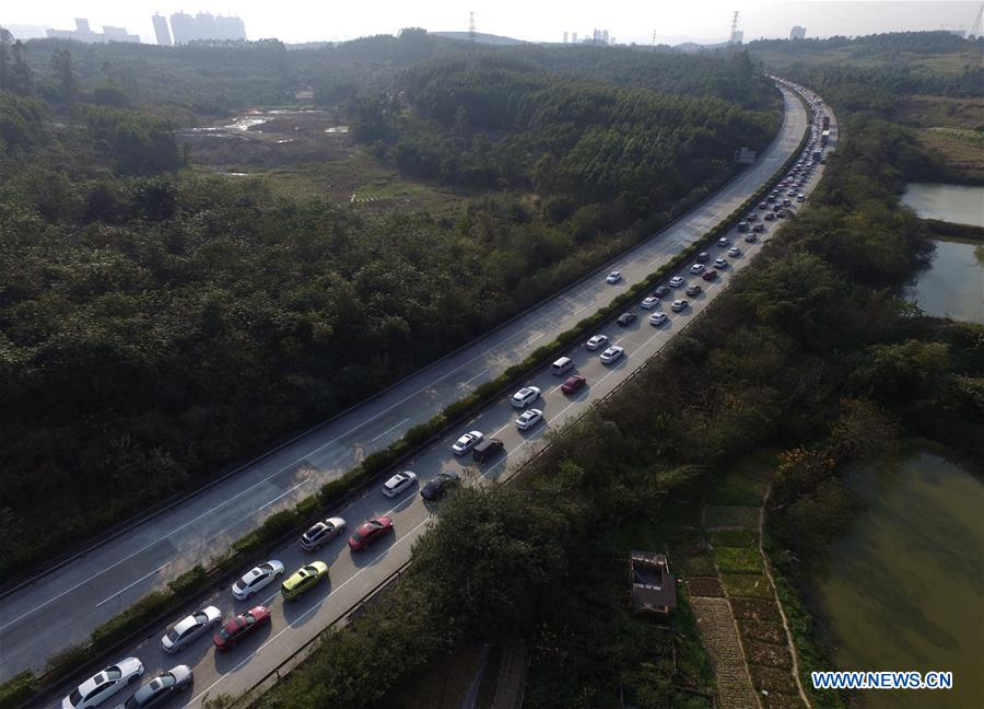 Aerial shots of traffic flow taken at end of Spring Festival holiday