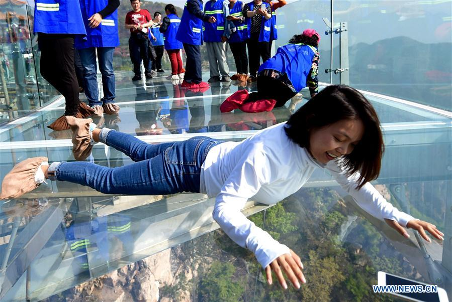 Glass sightseeing platform in scenic spot of Beijing opens