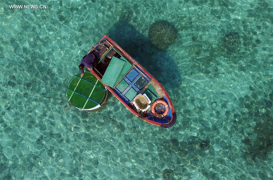 Daily lives of fishermen on Zhaoshu Island of Qilianyu Islands in south China