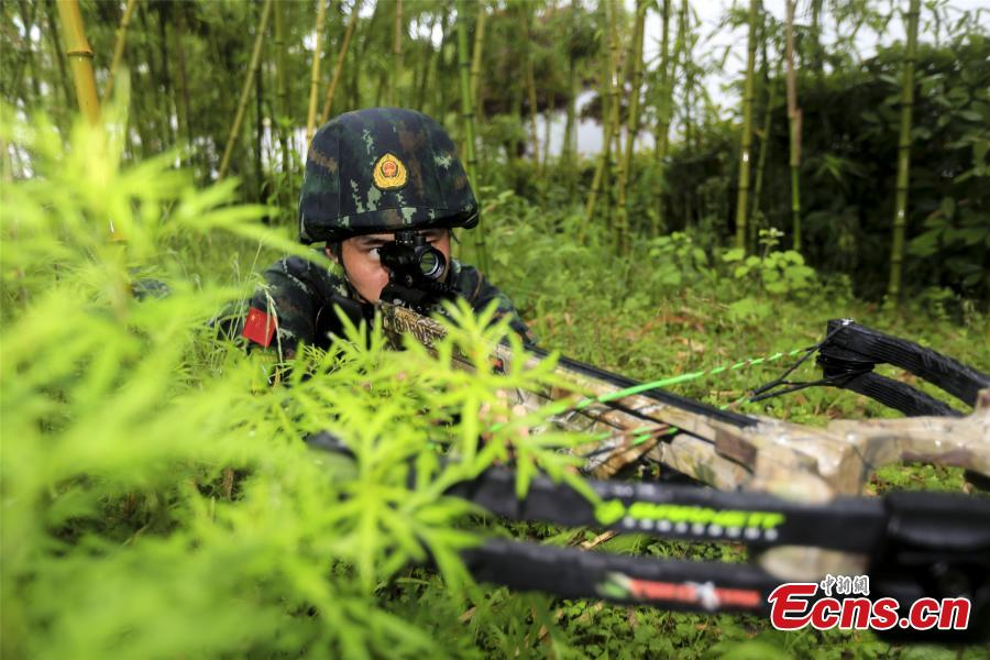 Paramilitary police undergo intensive crossbow training
