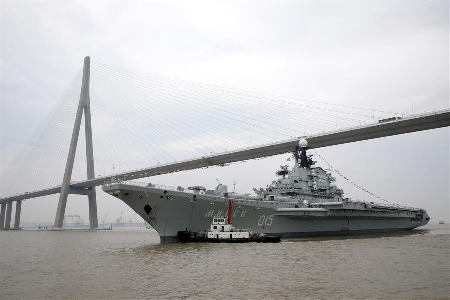 Aircraft carrier Minsk arrives at China's Nantong