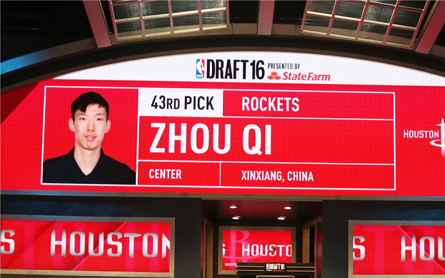 Houston Rockets select China's Zhou with 43rd pick in NBA draft