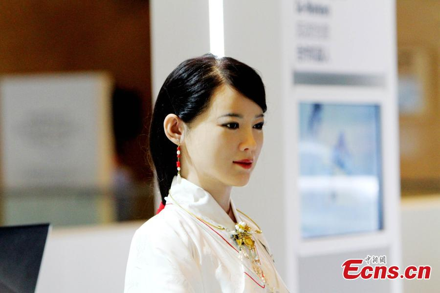 Super realistic humanoid Robot Jia Jia serves Summer Davos