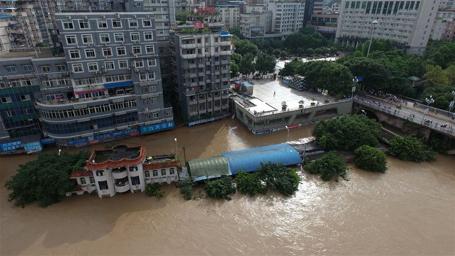 Torrential rain hits Qijiang District of Chongqing