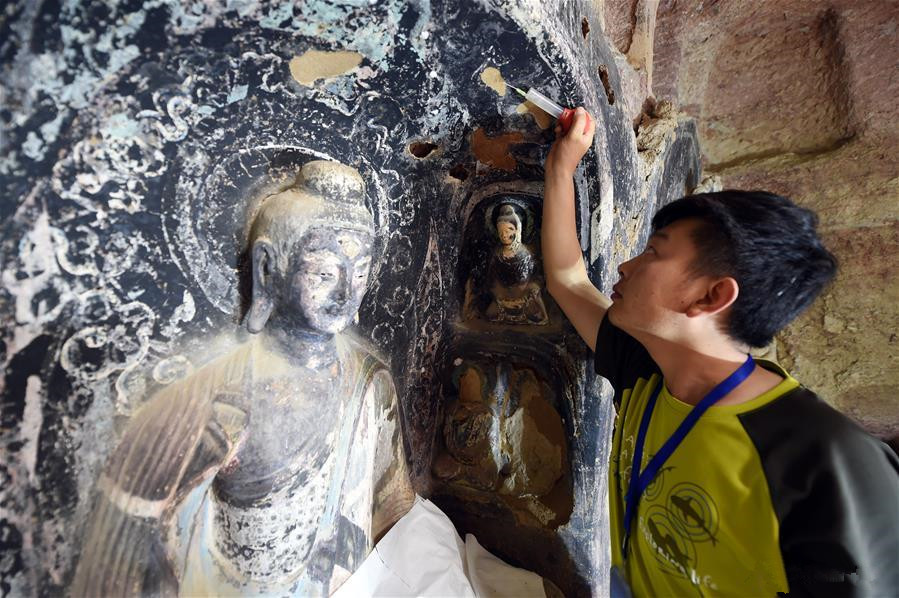 Cultural relic repair of Maiji Mountain Grottoes continues