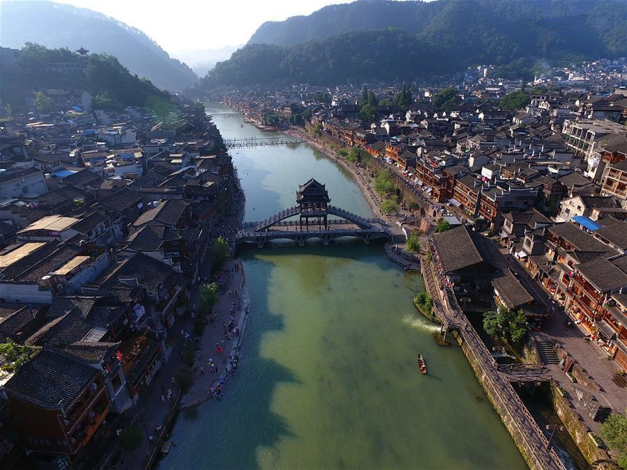 Aerial view of Fenghuang old town in Hunan