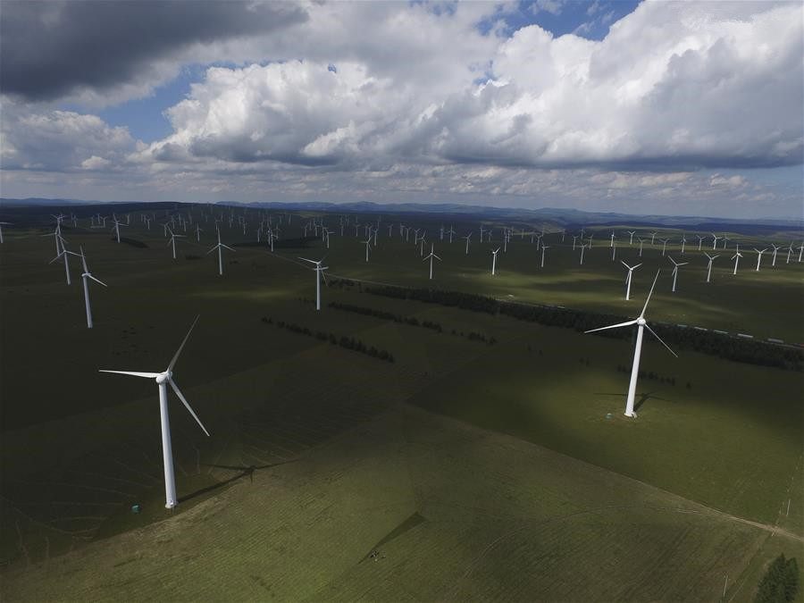 Aerial photos of wind power station in Hebei