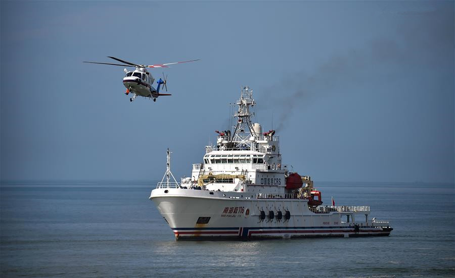 Emergency rescue drill held at sea area in Sanya
