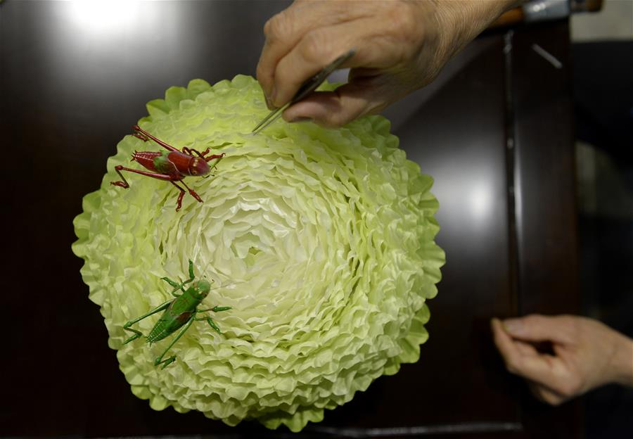 Chinese cabbage created by Qin silk craft artist in Henan