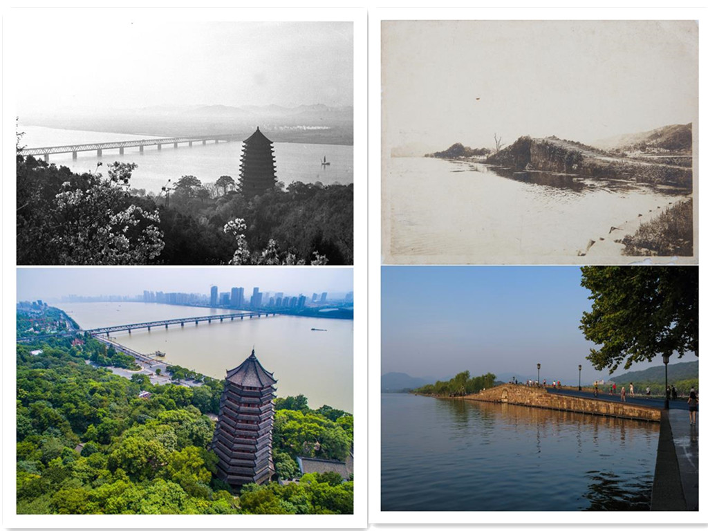 Combined scenery photos show changes in Hangzhou