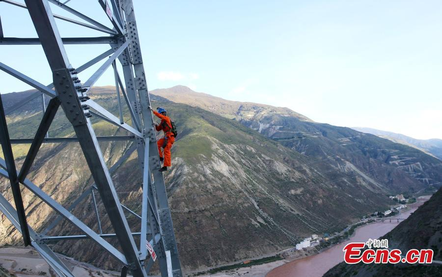 Sichuan-Tibet power line in first check