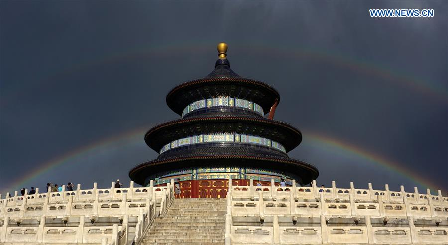 Double rainbow brightens sky over Beijing