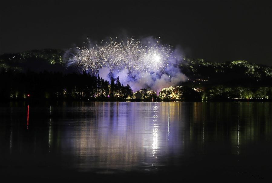 Fireworks light up West Lake in Hangzhou