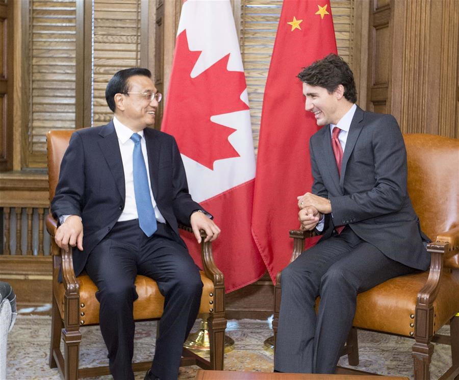 Chinese premier holds talks with Canadian counterpart in Ottawa