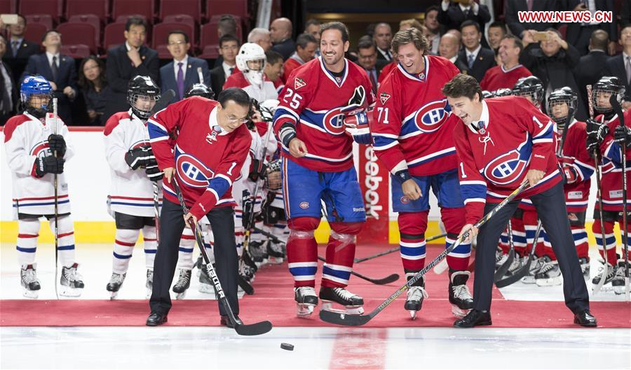 Chinese premier takes to ice with Montreal Canadiens
