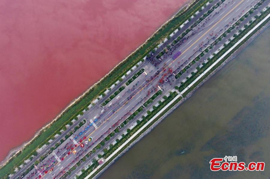 Aerial view of the colorful Salt Lake in Yuncheng