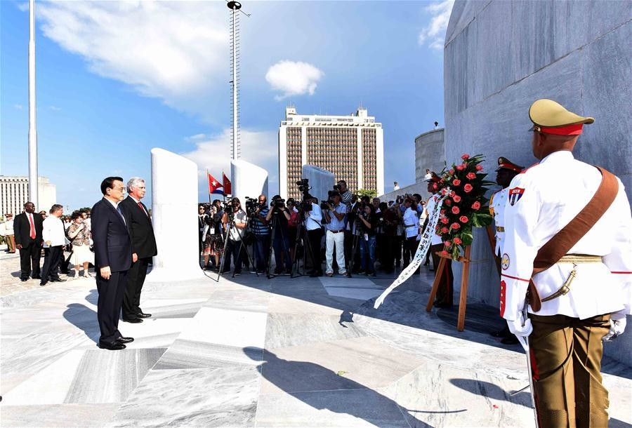 Chinese premier lays wreath to monument of Cuban national hero