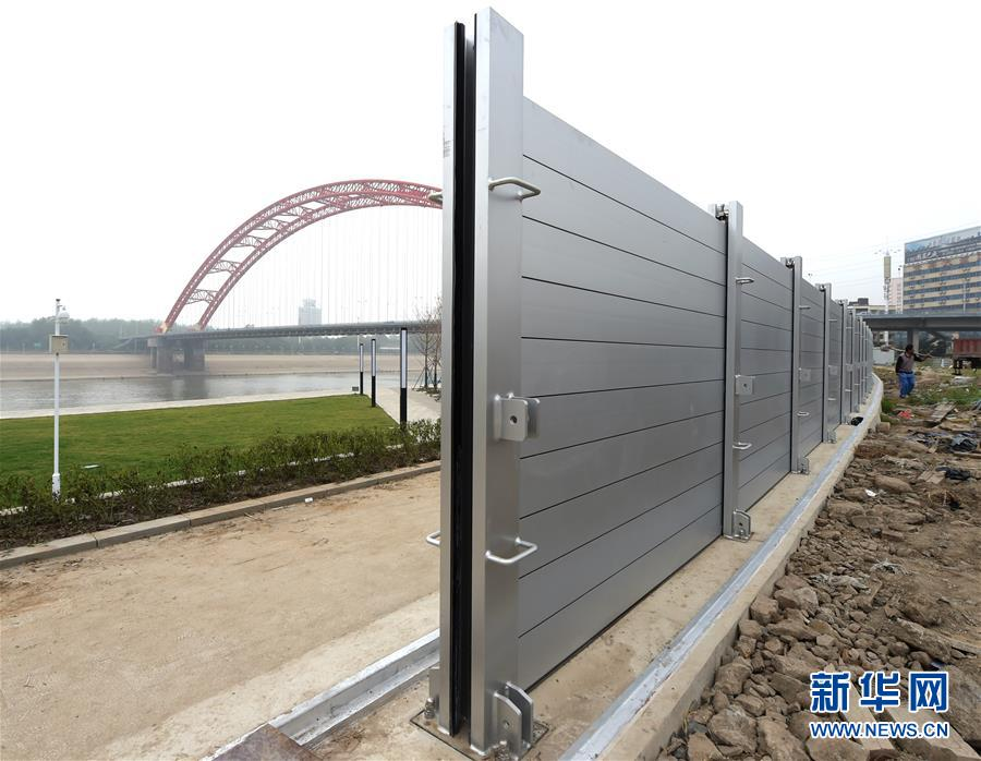 Anti-flood barrier put to use in Wuhan