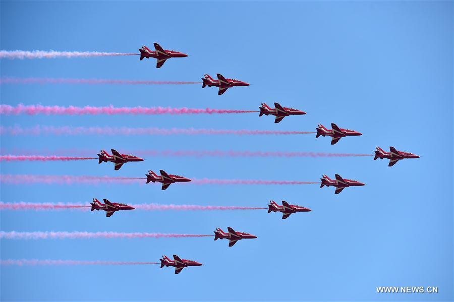 Britain's Red Arrows arrive at Zhuhai for China air show